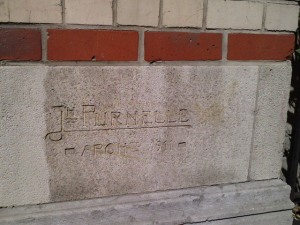 Signature of architect Joseph Prunelle (1911)