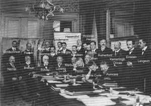 The First Solvay Conference, convened in Bruxelles in 1911, can be considered to be a collection of the founders of special relativity The photo credit is Photo Couprie, Bruxelles.