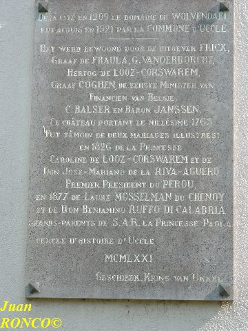Plaque in the Wolvendael Park (Uccle - Ukkel) displaying the year 1921